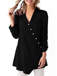 V-Neck  Asymmetric Hem Cutout Lightweight  Decorative Hardware  Plain  Roll-Up Sleeve Blouses