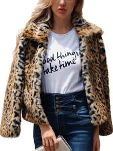 Fold-Over Collar  Animal Printed Coats