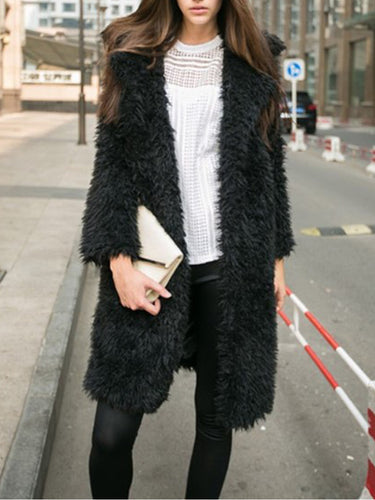 Fluffy Notch Lapel  Plain Coats