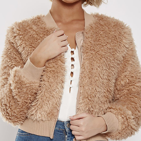 Fluffy Round Neck Zips Plain Coats