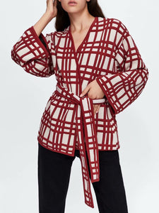 V-Neck  Belt  Plaid Coats