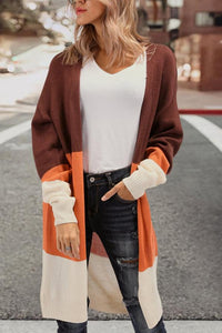 Fashion Tri-Color Stitching Sweater Cardigan