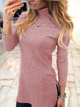 High Neck  Asymmetric Hem Cutout Patchwork  Decorative Hardware  Plain Sweaters