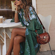 Sexy V Collar Floral Printed Slit Maxi Dress