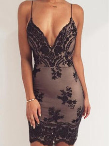 Deep V-Neck  Glitter  Floral Bodycon Dresses