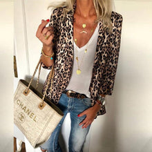 Fashion Lapel Leopard Printed Casual Blazers