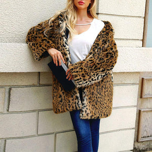 Hooded Leopard Printed Long Sleeve Fur Coats