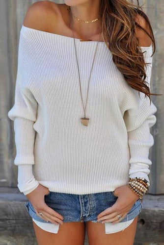 Casual Fashion Loose Plain Round Neck Long Sleeve Sweater