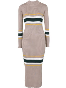 High Neck  Cutout Patchwork  Bust Darts Contrast Stitching  Striped Bodycon Dresses