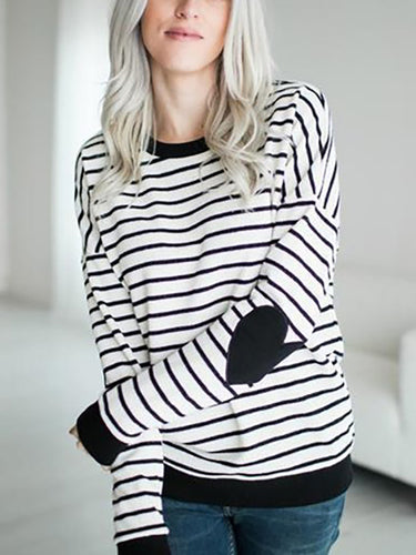 Crew Neck  Cutout Patchwork  Contrast Stitching  Striped Sweatshirts