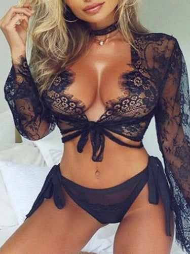 V-Neck  Lace Plain Sexy Lingerie