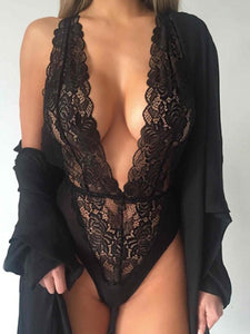 Sheer Deep V-Neck  Lace Plain Teddies