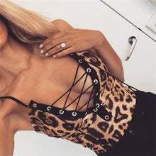 Sexy Fashion Slim Leopard Print Sleveless Lace-Up Bust Lingerie