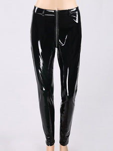 Cutout Patchwork Zips  Decorative Hardware  Plain Leggings