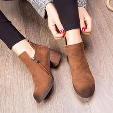 Women Plain Chunky Heel Side Zipper Ankle Boots