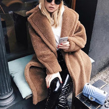 Autumn And Winter Fashion Pure Color Loose Casual Lapel Warm Coat