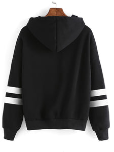 Hooded  Cutout Drawstring  Contrast Stitching  Cartoon Hoodies