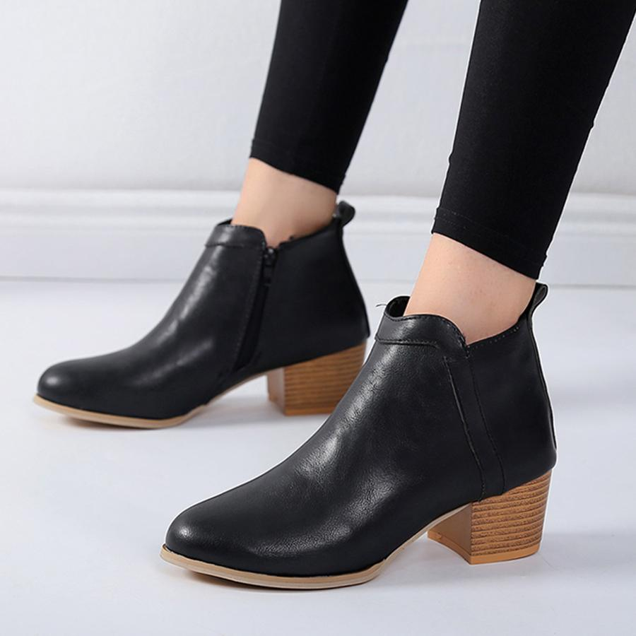 reputation first new collection hot-selling fashion Plain Chunky Mid Heeled Point Toe Date Outdoor Short High Heels Boots