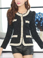 Scoop Neck  Contrast Trim Decorative Lace Patch Pocket  Contrast Stitching Crochet Decorative Button  Lace Blazers