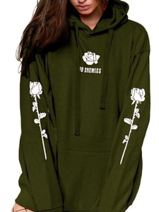 Large Size Hooded  Drawstring  Floral Hoodies