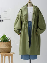High Neck  Drawstring Patch Pocket Single Breasted  Plain Trench Coats