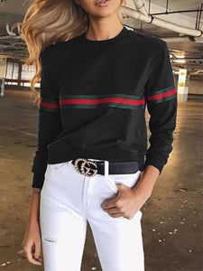 Round Neck  Contrast Trim  Plain Long Sleeve T-Shirts