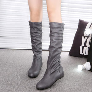 Leather-Trimmed Quilted  Plain Boots