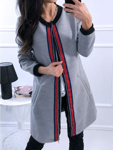 Rib Knit Cuffs  Plain Striped Coats