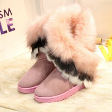 Fluffy Plain Flat Snow Boots