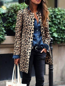 Crew Neck  Cutout Slit Pocket  Contrast Stitching  Leopard Coats