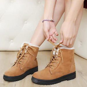 Plain  Flat  Velvet  Criss Cross  Round Toe  Casual Date Outdoor  Short Flat Boots