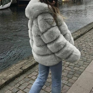 Turtle Neck Long Sleeve Elegant Fur Coats