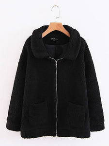 Fold-Over Collar  Patch Pocket Zips  Plain Coats