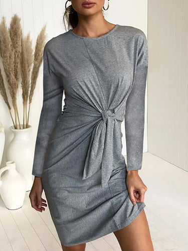Crew Neck  Bowknot Patchwork  Belt Loops  Plain Bodycon Dresses