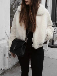 Faux Fur Collar  Zips  Plain Coats