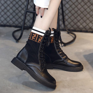 Fashion Letters Knit Boots