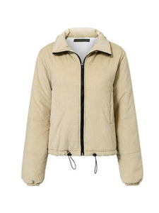 High Neck  Zips  Plain Coats