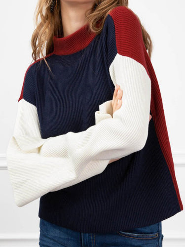 High Neck  Geometric Knitwear