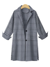 Notch Lapel  Plaid Trench Coats