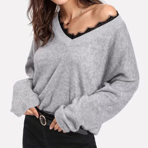 Deep V-Neck  Decorative Lace  Abstract Print Long Sleeve T-Shirts