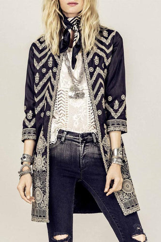 Band Collar  Abstract Print Blazers
