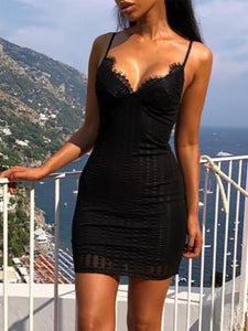 Spaghetti Strap  Plain Sexy Dress Lingerie