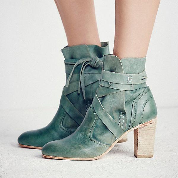 Fashion Winter Leather High Heel Women's Boots
