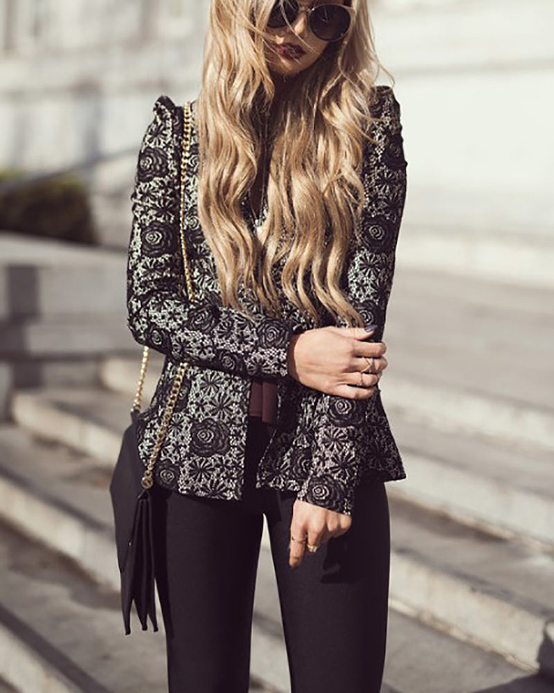 Collarless  Decorative Lace Zips  Crochet  Embroidery Blazers