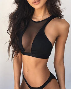 Crew Neck  Patchwork See-Through  Plain Sexy Lingerie