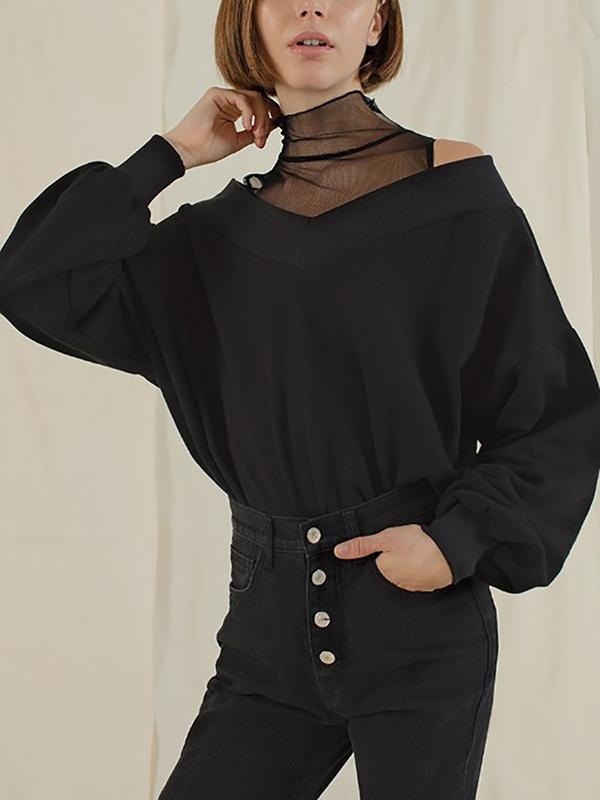 Band Collar  Decorative Lace Patchwork See-Through  Plain  Batwing Sleeve Hoodies