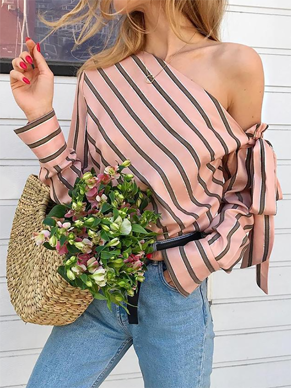 One Shoulder Bowknot Cutout Striped Shirts&Blouses