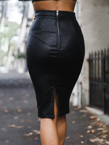 Slit Zips  Plain Knee-Length Skirts