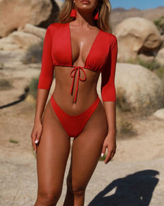 V-Neck  Drawstring  Plain Bikini