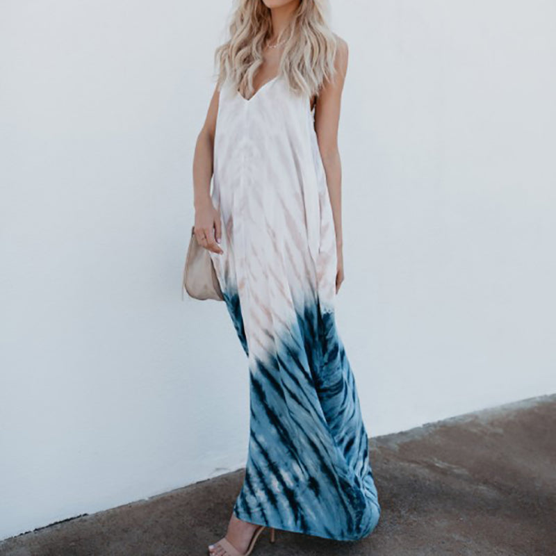 Spaghetti Strap Contrast Stitching Abstract Print Maxi Dresses
